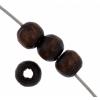 Wooden Bead Round 4mm Dark Brown Lacquered
